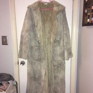 Newport News tan patchwork suede fur trench, XL